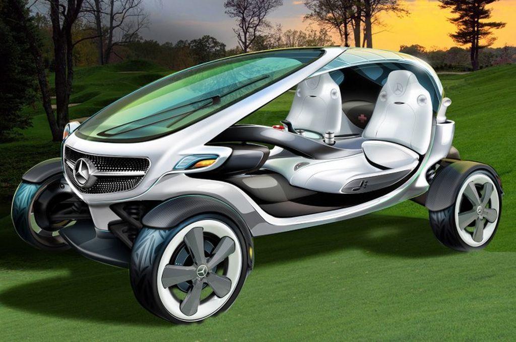 Экологически белый гольф-карт через Mercedes-Benz